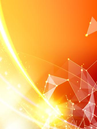 spiky: Abstract orange light background of atom for science design. Vector illustration. Illustration