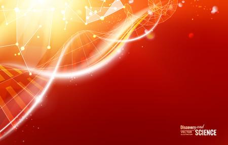 Zusammenfassung orangefarbenes Licht Hintergrund der DNA für science design. Vektor-Illustration.