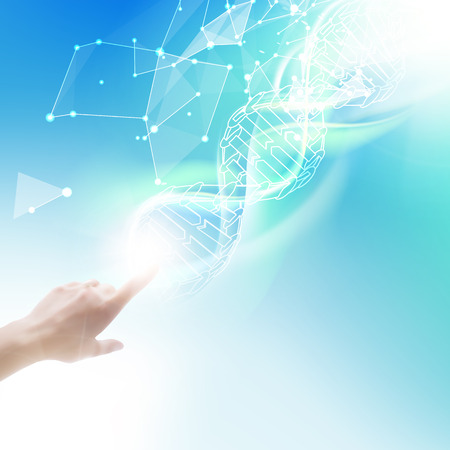 blue cells: Science concept image of human hand touching DNA. Vector illustration.