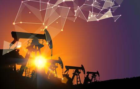 Oliepomp industriële machine voor aardolie op futuristische veelhoekige achtergrond. Vector illustratie.