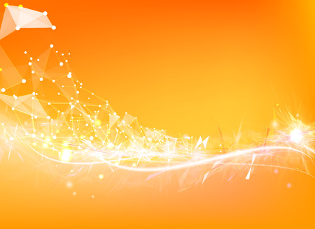 Atom particles over orange background with shining sparks. Vector illustration. Vector