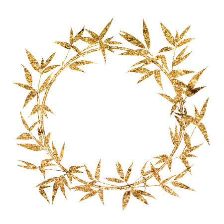 sand asia: Bamboo circle frame painted with golden paint. Vector illustration.