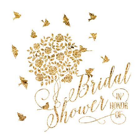 golden background: Bridal shower card of golden blooming rose bush. Vector illustration.