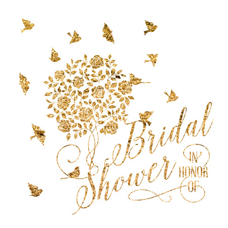 romantic background: Bridal shower card of golden blooming rose bush. Vector illustration.