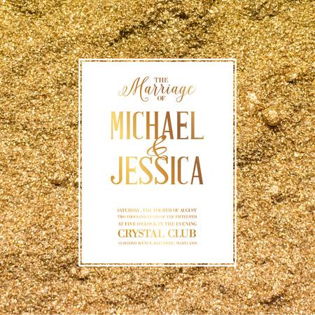 mariage: Mariage signe d'invitation gabarit sur le sable d'or. Vector illustration. Illustration