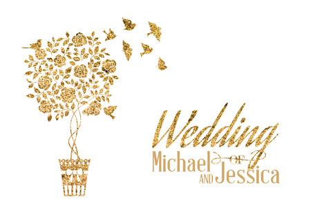 golden shower: Bridal shower card of golden blooming rose bush. Vector illustration.