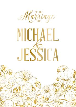 Huwelijk sjabloon met kalligrafische tekst en plaats voor uw namen geïsoleerd met tropische bloemen. Vector illustratie.