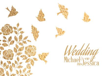 Gouden bruiloft uitnodiging. Vector illustratie