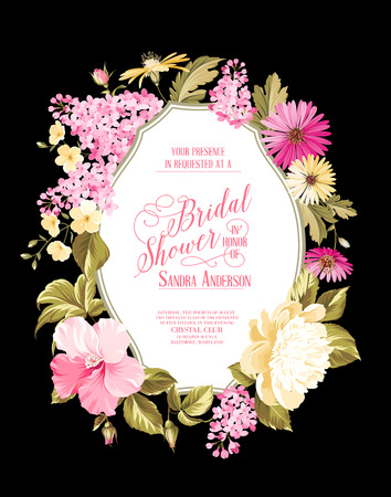 bridal shower: Bridal shower invitation card with calligraphic text, vintage floral invitation for spring or summer bridal shower. Vector illustration.