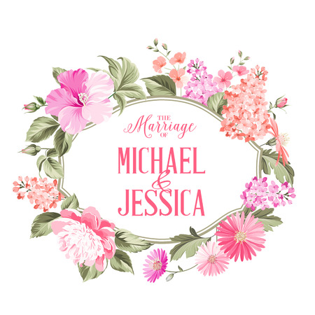 Marriage invitation card with custom text, vintage floral invitation for spring or summer party. Vector illustration. Illustration