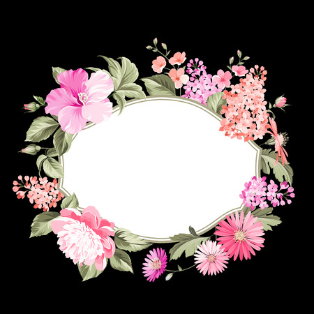 black border: Flower frame for your custom decorative design. Vector illustration.