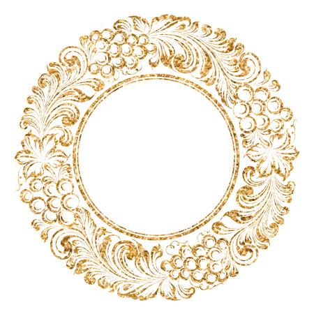 vine and leaves of vine: Grape circle garland for invitation card. Vector illustration.