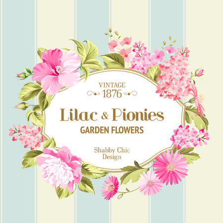 flores: Floral Background with Vintage Label. Vector illustration.