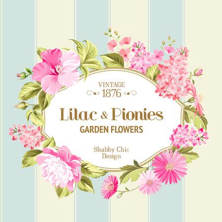 Floral Background with Vintage Label. Vector illustration.