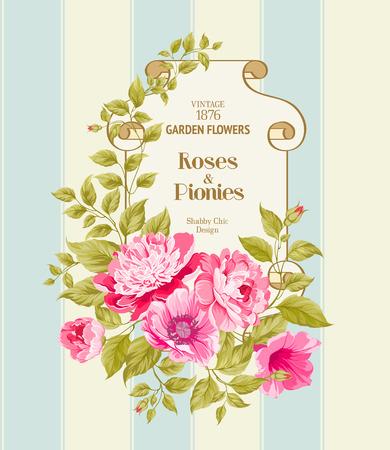 antic: Floral Background of tulip flowers. Vintage Label. Vector illustration. Illustration