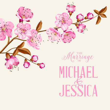 Cherry blossom on gray backdrop. Flower invitation. Vector illustration.