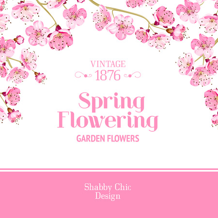 lable: Lable card with template text and flower pattern on background. Vector illustration. Illustration