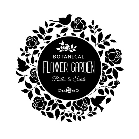 circle flower: Rose garden bush black silhouette over white background. Vector illustration.