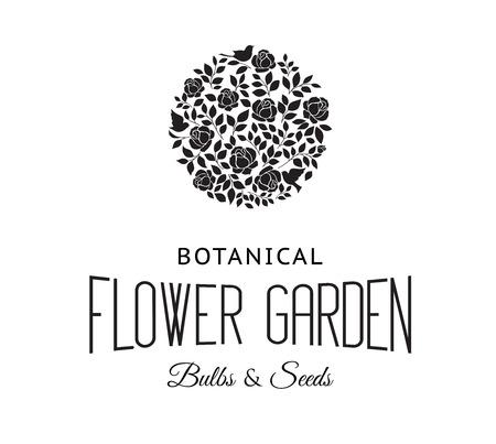 chik: Rose garden bush black silhouette over white background. Vector illustration.