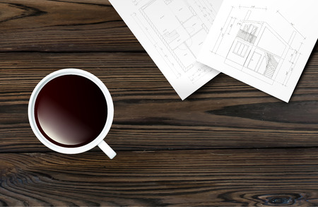 overhead view: Top view of cup of coffee on a wooden table with architectual blueprints. Vector Illustration.