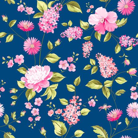 Fiori di primavera seamless pattern su sfondo bianco. Vettoriali
