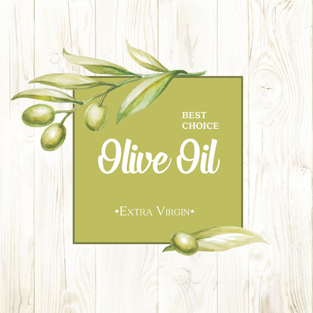 Olive oil card Vintage background.