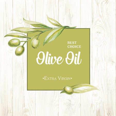 Olive oil card Vintage background. Vector