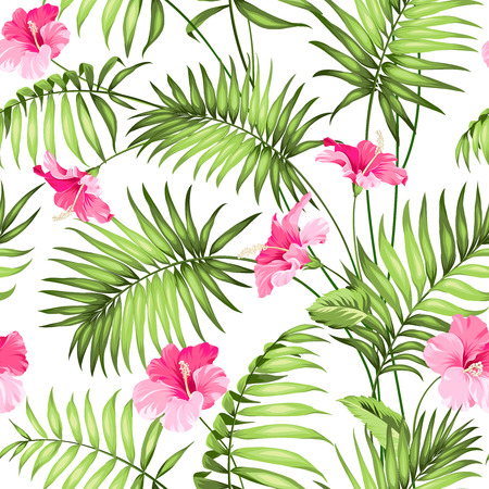 playas tropicales: Flores y selva tropical. Vectores