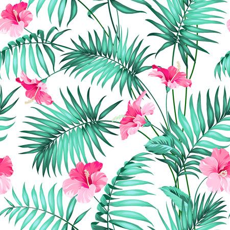 シームレスなパターンの花を持つ熱帯の背景。