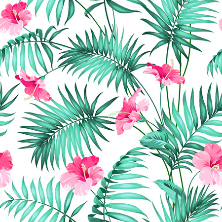 tropical leaves: Seamless pattern Tropical background with flowers.  Illustration