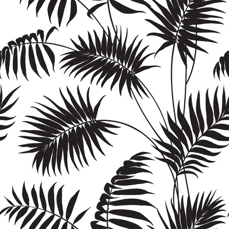repetition: Tropical background Palm trees and hibiscus.