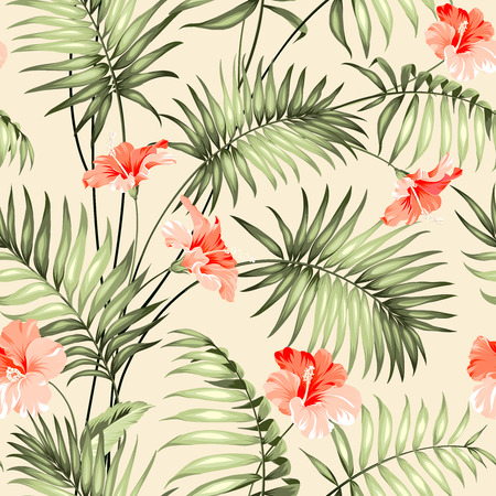 Seamless pattern branch of a palm tree.