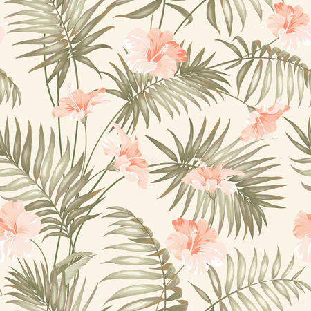 Hand draw tropical flower. Blossom flowers for seamless pattern background. Vettoriali