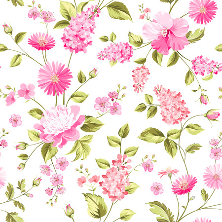 Spring flowers seamless pattern on the white background.