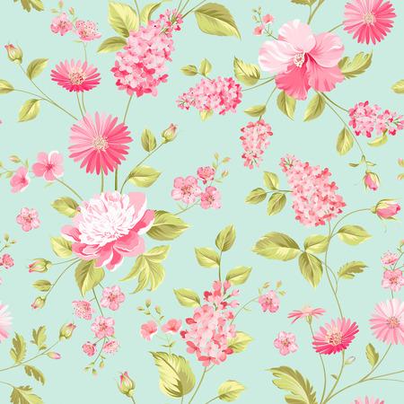 ファブリックの設計のシームレスな花パターン。  イラスト・ベクター素材
