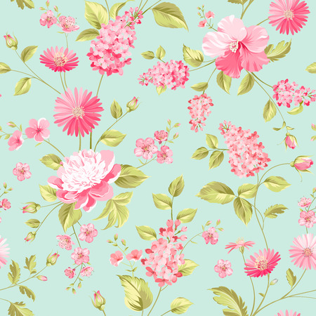 chrysanthemums: Seamless flower pattern for fabric design.