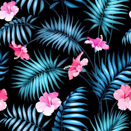 tropical flower: Seamless tropical flower. Blossom flowers for seamless pattern background. Vector illustration. Illustration