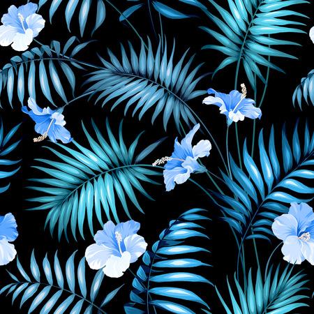 Seamless tropical flower. Blossom flowers for seamless pattern background. Vector illustration. Vettoriali
