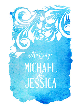 Blue Watercolor Background Splash with Marriage sign. Vector illustration. Vector