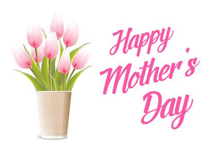borde de flores: Madres feliz tarjeta del día. Texto Mamá te amo. Ilustración del vector. Vectores
