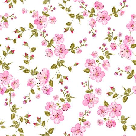 흰색 배경 위에 봄 꽃 패턴입니다. 벡터 일러스트 레이 션.