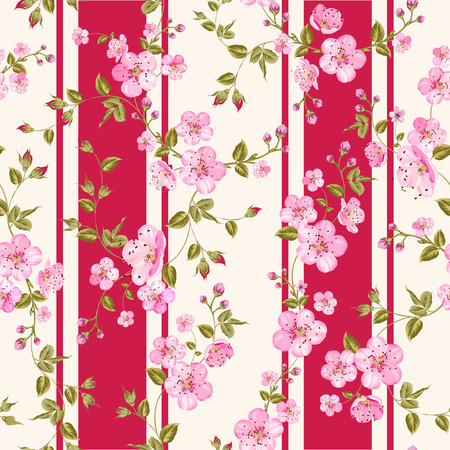 wedding table setting: Floral seamless pattern with blooming sakura. Vector illustration.