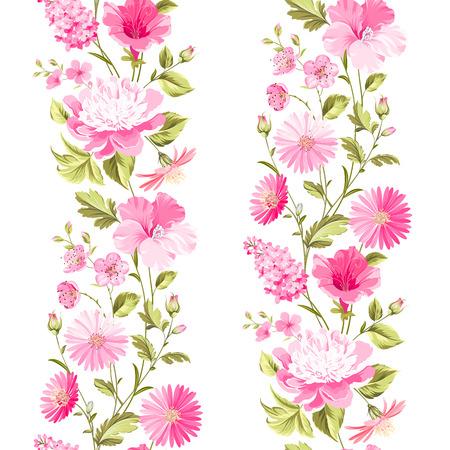 tulipan: Floral bez szwu z kwitnących kwiatów wiosennych. Ilustracji wektorowych. Ilustracja