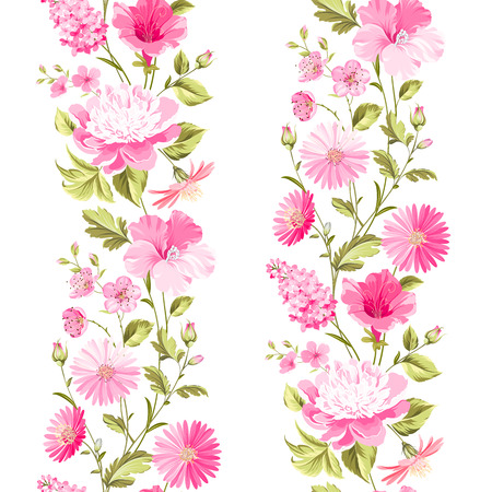 wedding table setting: Floral seamless pattern with blooming spring flowers. Vector illustration. Illustration