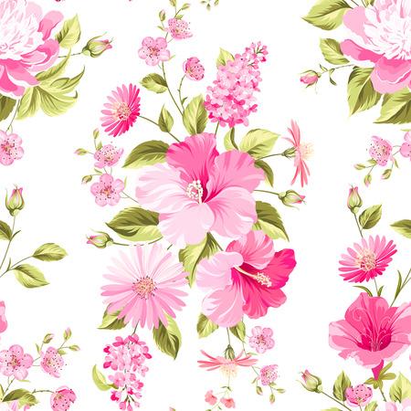 Floral nahtlose Muster mit blühenden Blumen. Vektor-Illustration.