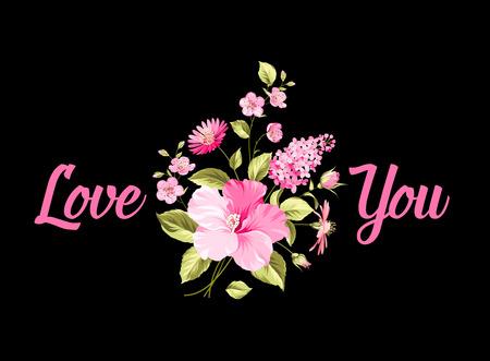 te negro: Ramo de flores. Te amo. Fondo negro. Ilustración vectorial Vectores
