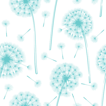 Dandelion flowers on a gray. Design for wishing, hope and aspirations. Vector illustration.