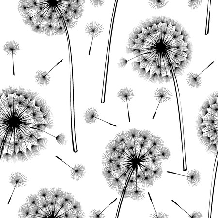 dandelion seed: Seamless pattern with dandelions on a light background.