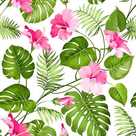 ibiscus: Seamless fiori tropicali. Fiori Blossom per sfondo seamless. Illustrazione vettoriale.
