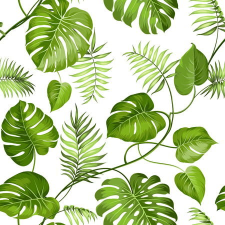 Tropical leaves design for fabric swatch. Vector illustration. Çizim
